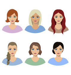 set of portraits of girls vector image