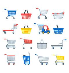 shopping cart shop pushcart trolley shopper vector image vector image