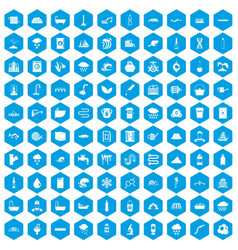 100 water supply icons set blue vector