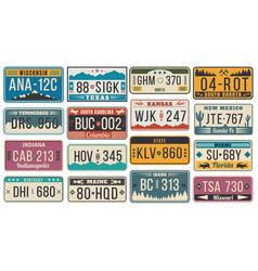 abstract usa states license plates colorful retro vector image