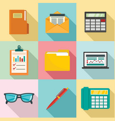 Accounting icon set flat style vector