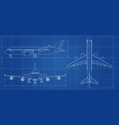 Airplane blueprint outline aircraft on blue vector