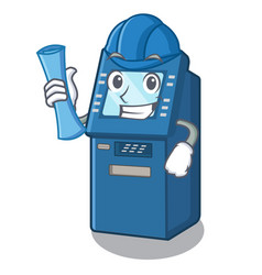 Architect atm machine in cartoon shape vector