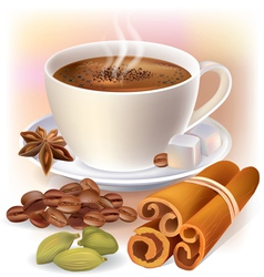 Aromatic coffee with spices vector