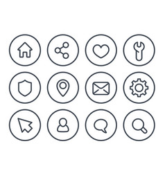 basic line icons for web and apps vector image