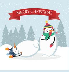 beautiful flat design christmas card funny snowman vector image