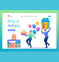 birthday party with friends flat 2d characters vector image