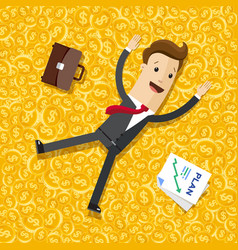 businessman lying on the money gold coins vector image