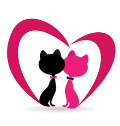 cat fallen in love with pink heart shape vector image