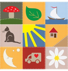 children patchwork vector image