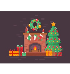 Christmas fireplace tree vector