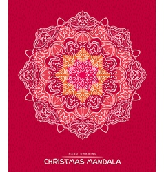 Christmas mandala with decorative holidays element vector image