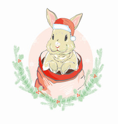 Christmas rabbit in santa hat vector