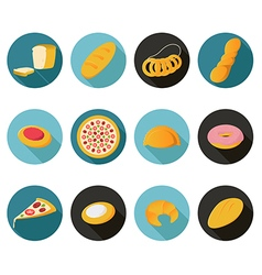 Collection of flat bread icons vector image