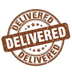 Delivered brown grunge stamp vector