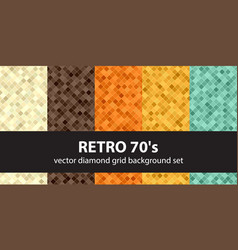 diamond pattern set retro 70s seamless vector image