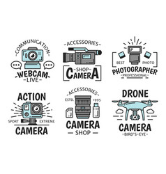 digital devices camera and webcam icons vector image