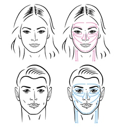Facial massaging lines for man and woman vector