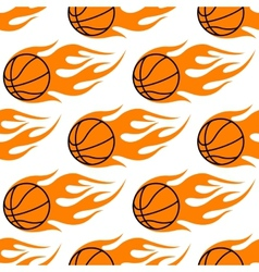 Flaming basketballs seamless pattern vector image