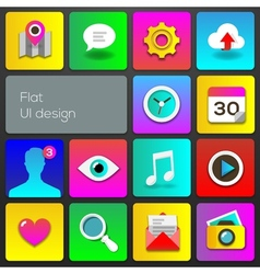Flat UI design trend multicolored set icons vector image