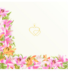 Floral border festive background with blooming vector