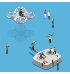 Flying quadcopter isometric flat concept vector image vector image