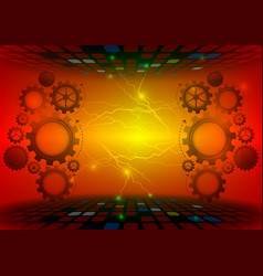 gear abstract red background technology concept vector image