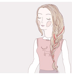 Girl plait pink vector