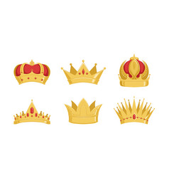 golden crowns collection royal symbols power vector image