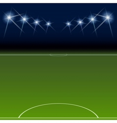 Green soccer field bright spotlights vector