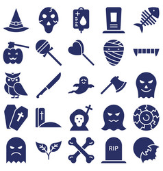 Halloween isolated icons set every single vector