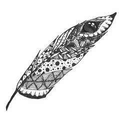 hand drawn doodle zentangle feather isolated from vector image