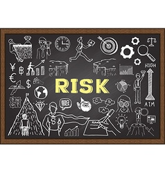 Hand drawn risk on chalkboard vector image