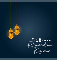 Hangning lantern with creative ramadan kareem vector