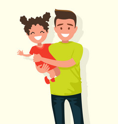 happy dad keeps daughter in her arms vector image