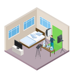 hi-tech blogger making video isometric vector image
