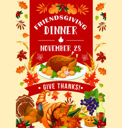 Holiday potluck friendsgiving day turkey vector
