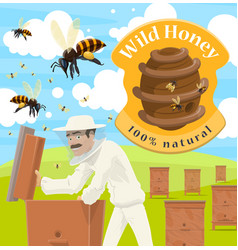 Honey farm poster with male beekeeper at apiary vector
