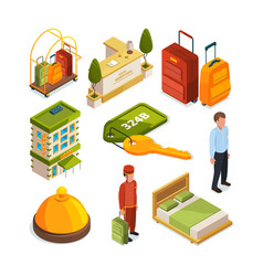 icons set of hotel services isometric vector image