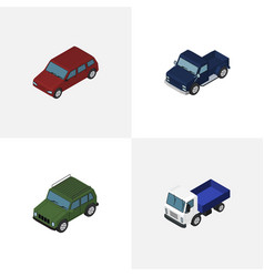 isometric automobile set of armored lorry car vector image