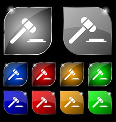 judge or auction hammer icon sign Set of ten vector image