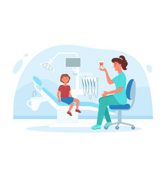 kid visits dental pediatric clinic for checkup vector image