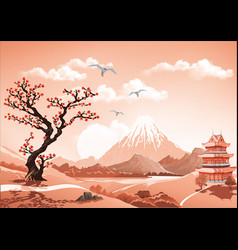 Landscape of nature asia this morning vector
