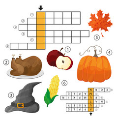 learn english with an autumn crossword game for vector image