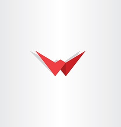 letter w red symbol logotype element vector image