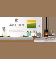 Living room interior background with fireplace vector