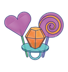 lollipops and ring diamond cartoon image vector image