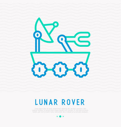 Lunar rover with satellite thin line icon vector