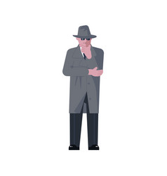 man character wearing in coat is thinking vector image