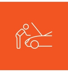 Man fixing car line icon vector